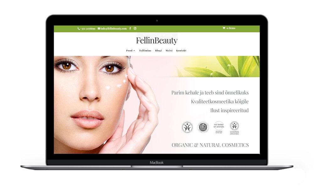 fellinbeauty.com sülearvuti vaade
